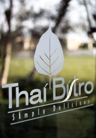 glass etching of Thai Bistro logo
